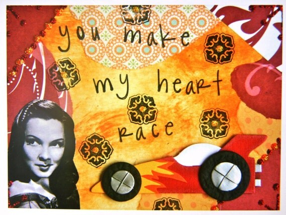 Collage Greeting Card, 5x7 Card Print, MY HEART RACE
