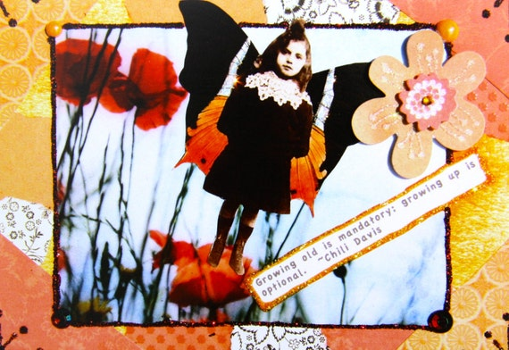 Growing Up is Optional, Altered Art Greeting Card, Size 5x7 Card Print, Blank Inside