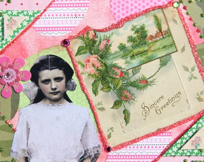Handmade Collage Greeting Card, Mixed Media, Size 5 x 7, Sincere Greetings, Blank Inside