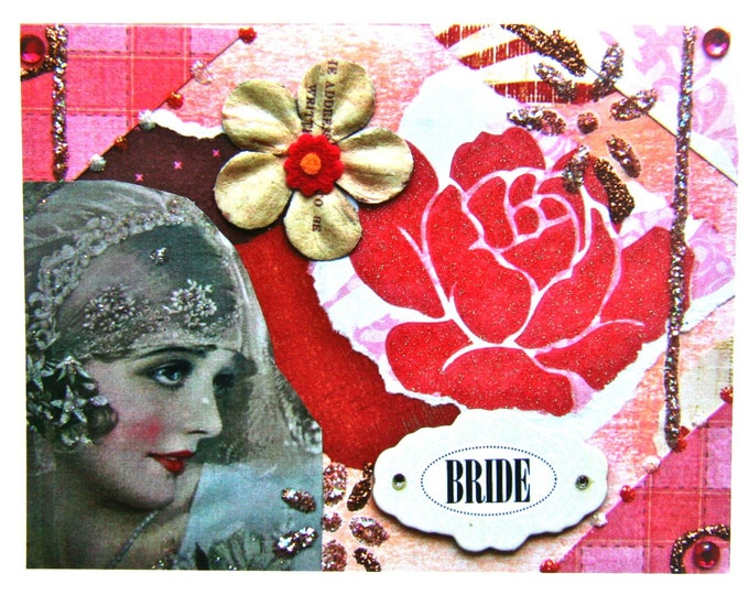 Collage Greeting Card for Bride, Size 5 x 7 Card Print, BRIDE, Blank Inside