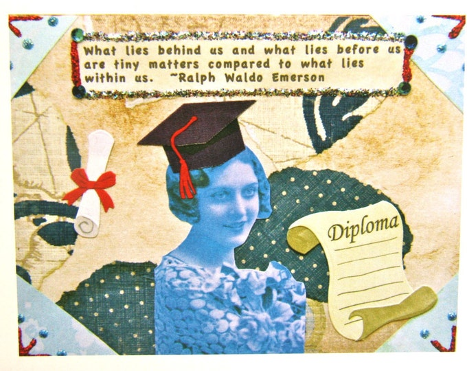 Altered Art Greeting Card, 5 x 7 Card Print, Graduation, What Lies Within Us, Blank Inside