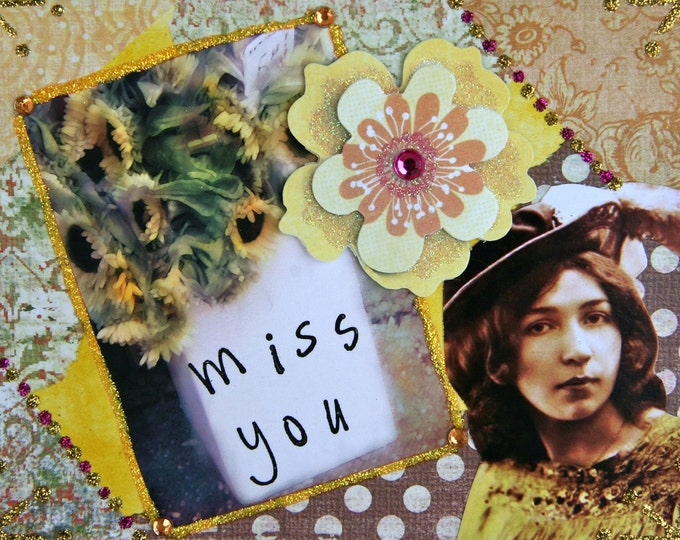 Handmade Collage Greeting Card, Mixed media, MISS YOU, Blank Inside