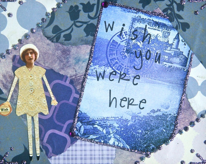 Handmade Altered Art Greeting Card, Size 4x5 1/2, Mixed Media, Wish You Were Here, Blank Inside