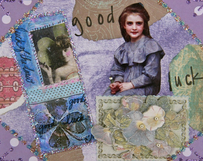 Handmade Altered art greeting card, Size 4 x 5 1/2, Good Luck, Blank Inside