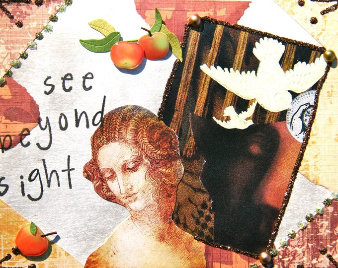 Handmade Altered Art Greeting Card, size 4x5 1/2, See Beyond Sight, Blank Inside