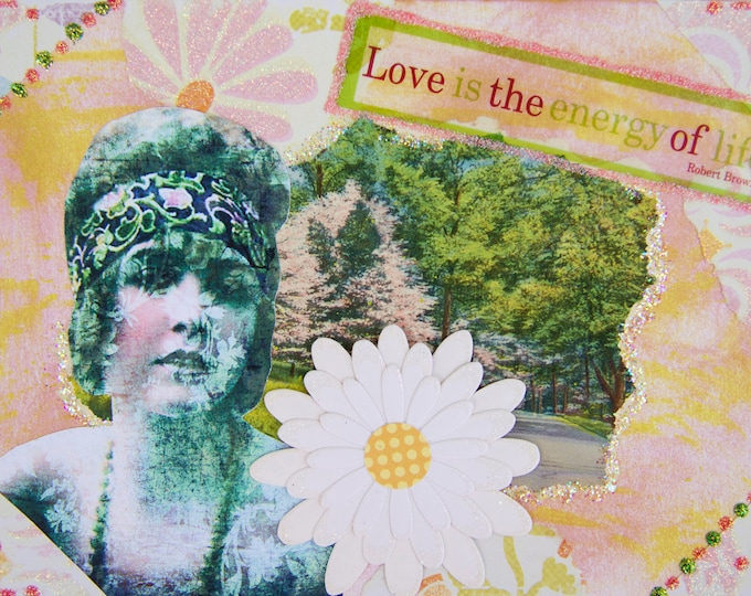 Handmade Altered Art Greeting Card, Size 5x7, Love is the Energy of Life, Blank Inside