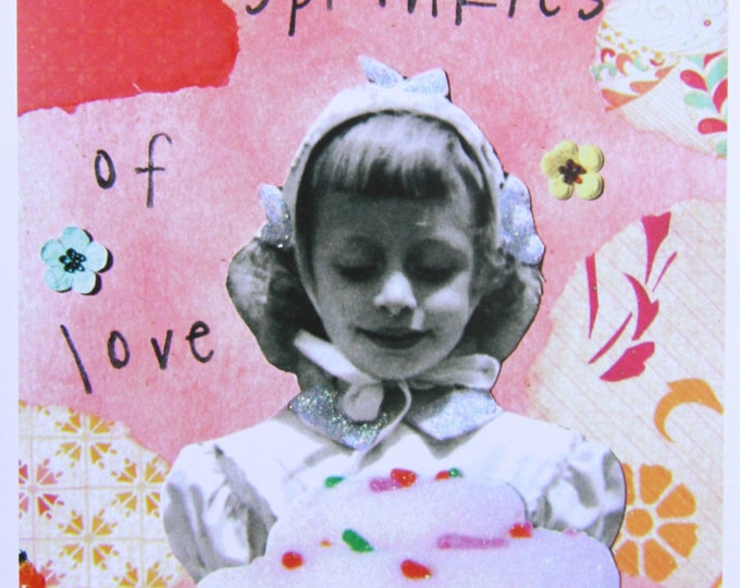 Collage Card, Sprinkles of Love, Size 5x7, Blank Inside, Card Print