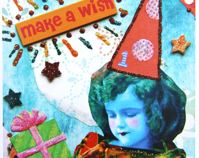 Altered Art Birthday Card, Make a Wish, Size 5x7, Blank Inside, Card Print