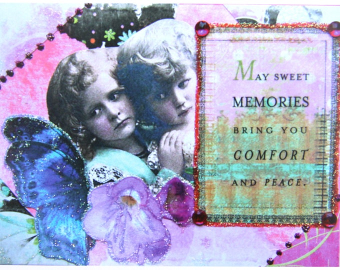 Altered Art Greeting Card, Comfort and Peace, Size 5x7, Blank Inside, Card Print