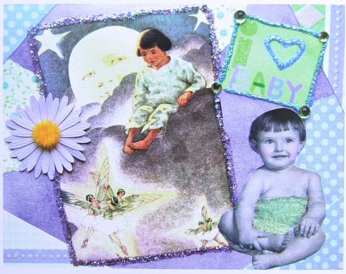 Collage Greeting Card, I Love Baby, Size 5x7, Blank Inside, Card Print