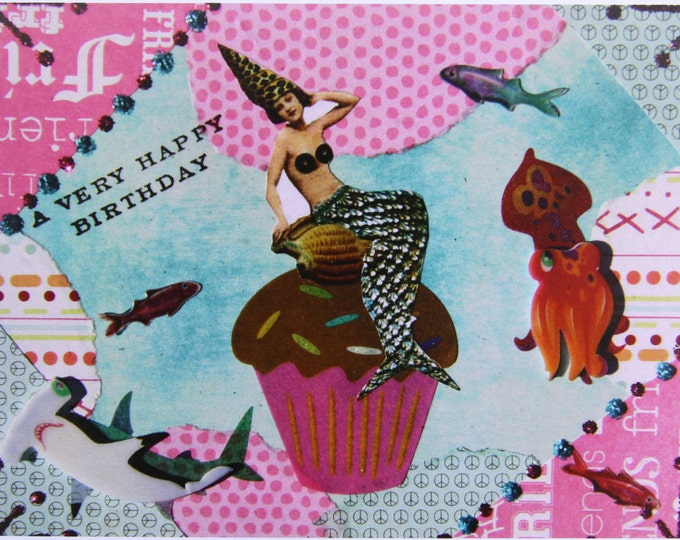 Altered Art Greeting Card, A Very Happy Birthday, Size 5x7, Blank Inside, Card Print