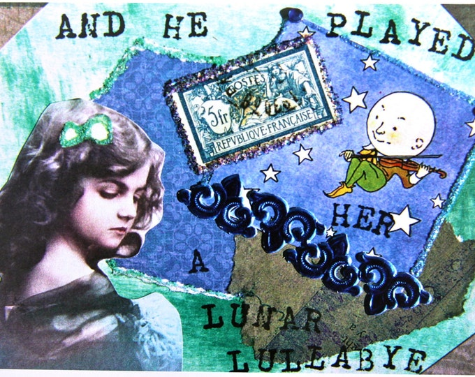 Collage Greeting Card, Lunar Lullabye, Size 5x7, Blank Inside, Card Print