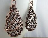 tangle - woven copper teardrop earrings