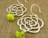 petunia - silver flower and glass earrings