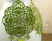 trellis - avocado green hand painted filigree and glass earrings