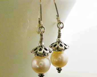 Freshwater Pearl Earrings, Sterling Silver, Rhinestone Rondel, Bridal Jewelry, Delicate