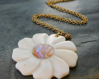 Flower Pendant Necklace, 14kt Gold Filled, 16 inch, MOP mother of pearl