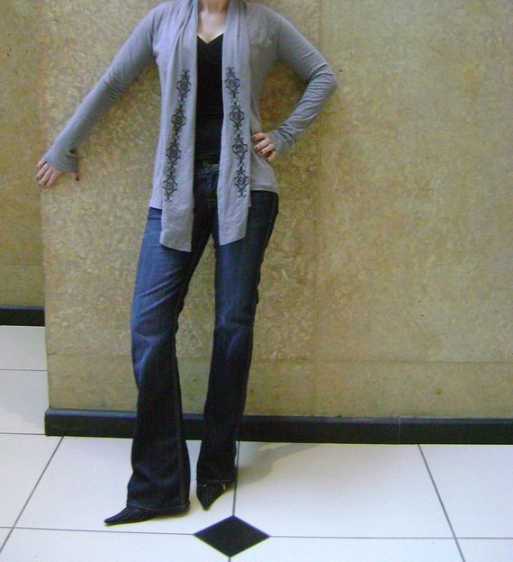 S, M, L, XL  - Lacy Revival on Gray Long Sleeve Wrap