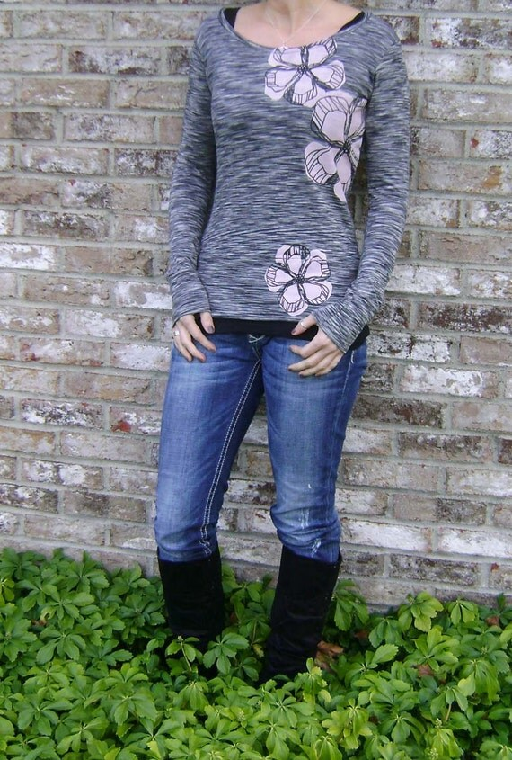 New -  M, L, XL   Patterned Petals on Striae Long Sleeved Tee