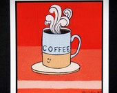 happy Coffee- Archival Print of Original Gouache Painting