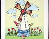 There were two gnomes who lived in a windmill...- Signed Archival Print of Original Illustration