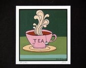 Happy Tea- Archival Print of Original Gouache Painting