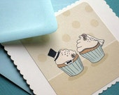 Bride and Groom Cupcakes- Flat Card with Envelope