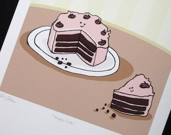 Happy Cake. Signed Archival Giclee Print