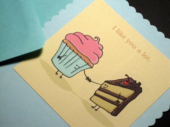 Cake Love. Flat Greeting Card with Envelope