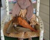 Rabbit Doll Pattern Sitting Instant Digital Download Primitive Fabric Cloth Sewing PDF hafair faap