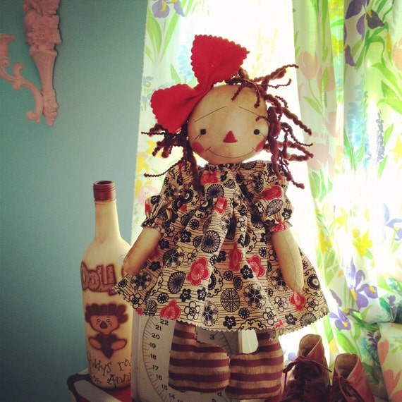 Cloth raggedy Ann doll Primitive Folk Art Annie