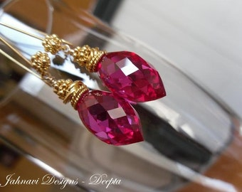 Deepta - Hot Pink Topaz Earrings