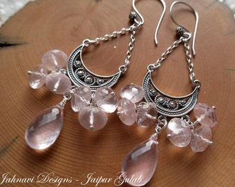 Jaipur Gulab - Luminous Rose Quartz Chandelier Earrings