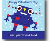 Printable Valentine Tags with Blue Robot Design
