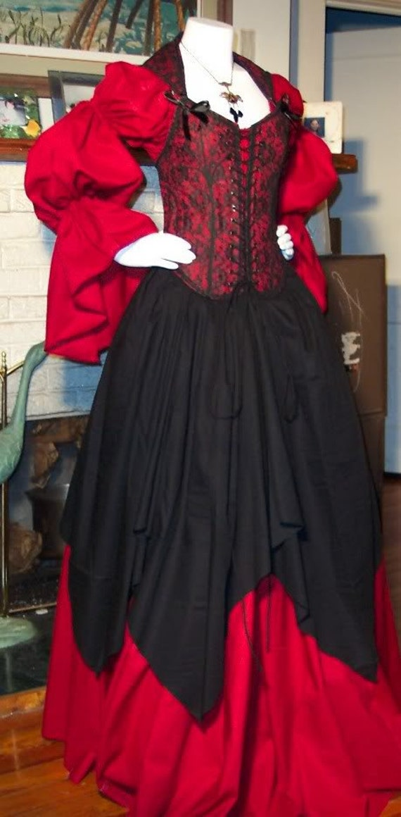 Pirate Corset Renaissance Witch Wench custom costume Dress Gown