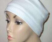 FREE SHIP USA 3-Band White  Knit Chemo, Cancer, Alopecia Hat, Hair loss, Alopecia