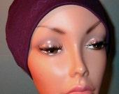 FREE SHIP USA Purple Cotton Hat Liner -Chemo, Cancer, Alopecia, Hijab Liner,  Sleep Cap, Scarf Liner