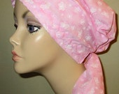 FREE SHIP USA Pink Butterfly   Print Chemo Hat, Cancer Scarf, Modest Hat