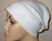 FREE SHIP USA White Slouch  Chemo Hat, Cancer Cap, Alopecia, Bad Hair Day