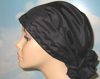 Black Silk Look Chemo Hat, Alopecia, Cancer Hat