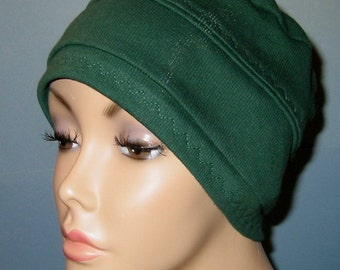 3-Band Forest Green  Chemo Hat, Hijab, Alopecia Cap Cancer Cap Yoga Hat