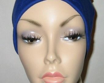 Royal Blue Cotton Hat Liner -Chemo, Cancer, Alopecia, Hijab Liner,  Sleep Cap, Scarf Liner