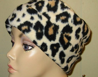 Leopard Print  Anti Pill Fleece Pillbox Hat, Winter Hat, Cancer, Chemo Hat,