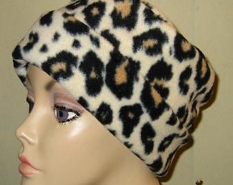Leopard Print  Anti Pill Fleece Pillbox Hat, Winter Hat, Cancer, Chemo Hat,