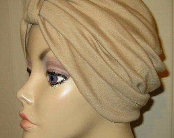 FREE SHIP USA Camel  Knit Turban, Chemo Hat, Snood, Womens Hat