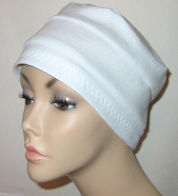3-Band White  Knit Chemo, Cancer, Alopecia Hat, Hair loss, Alopecia