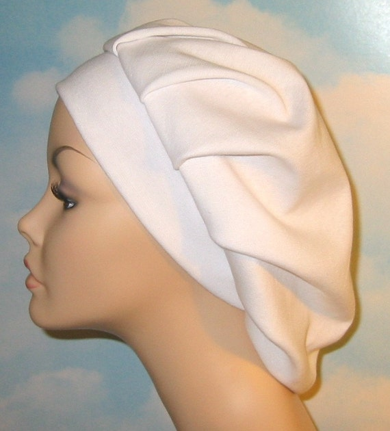 Womens White  Pleated Snood, Hijab, Hair Loss, Chef Hat