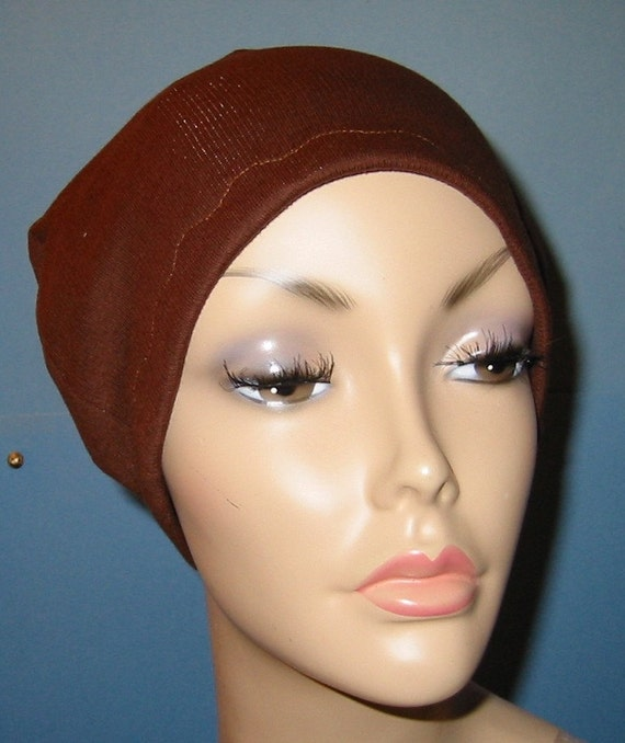 Brown Cotton Hat Liner -Chemo, Cancer, Alopecia, Hijab Liner,  Sleep Cap, Scarf Liner