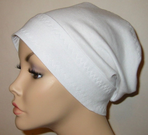 White Slouch  Chemo Hat, Cancer Cap, Alopecia, Bad Hair Day
