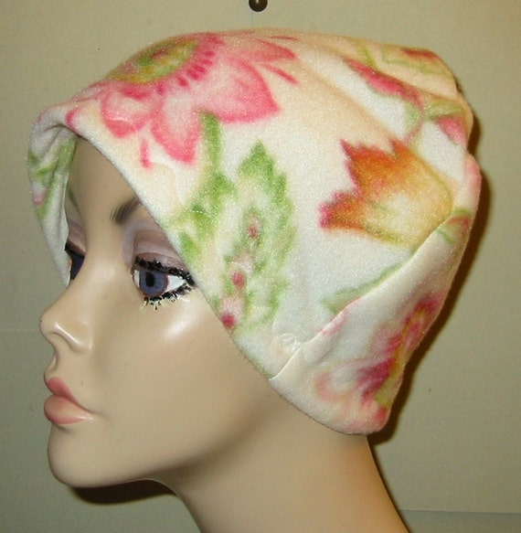 Pink and White Floral  Fleece Chemo, Cancer, Sleep Cap, Turban